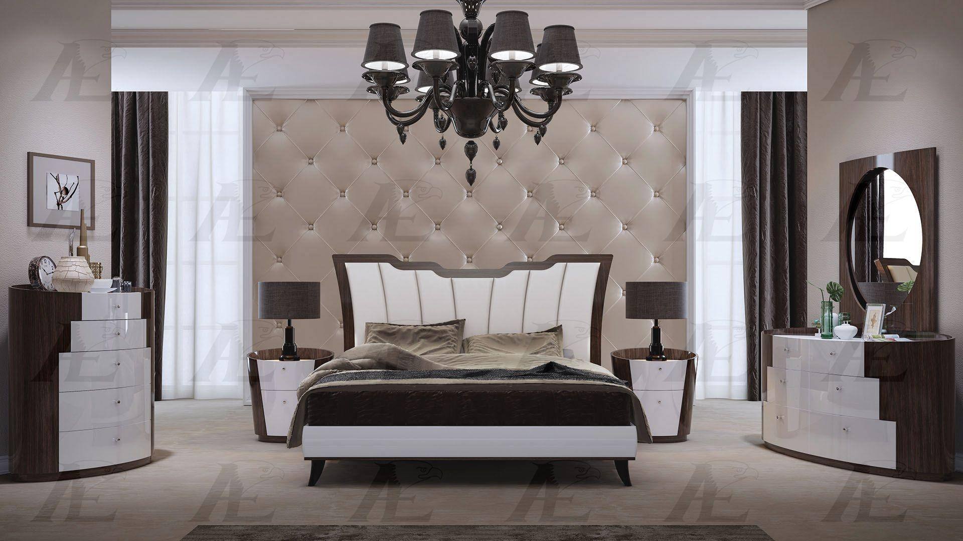 American Eagle Furniture P105 Bed Q Palisander Brown White