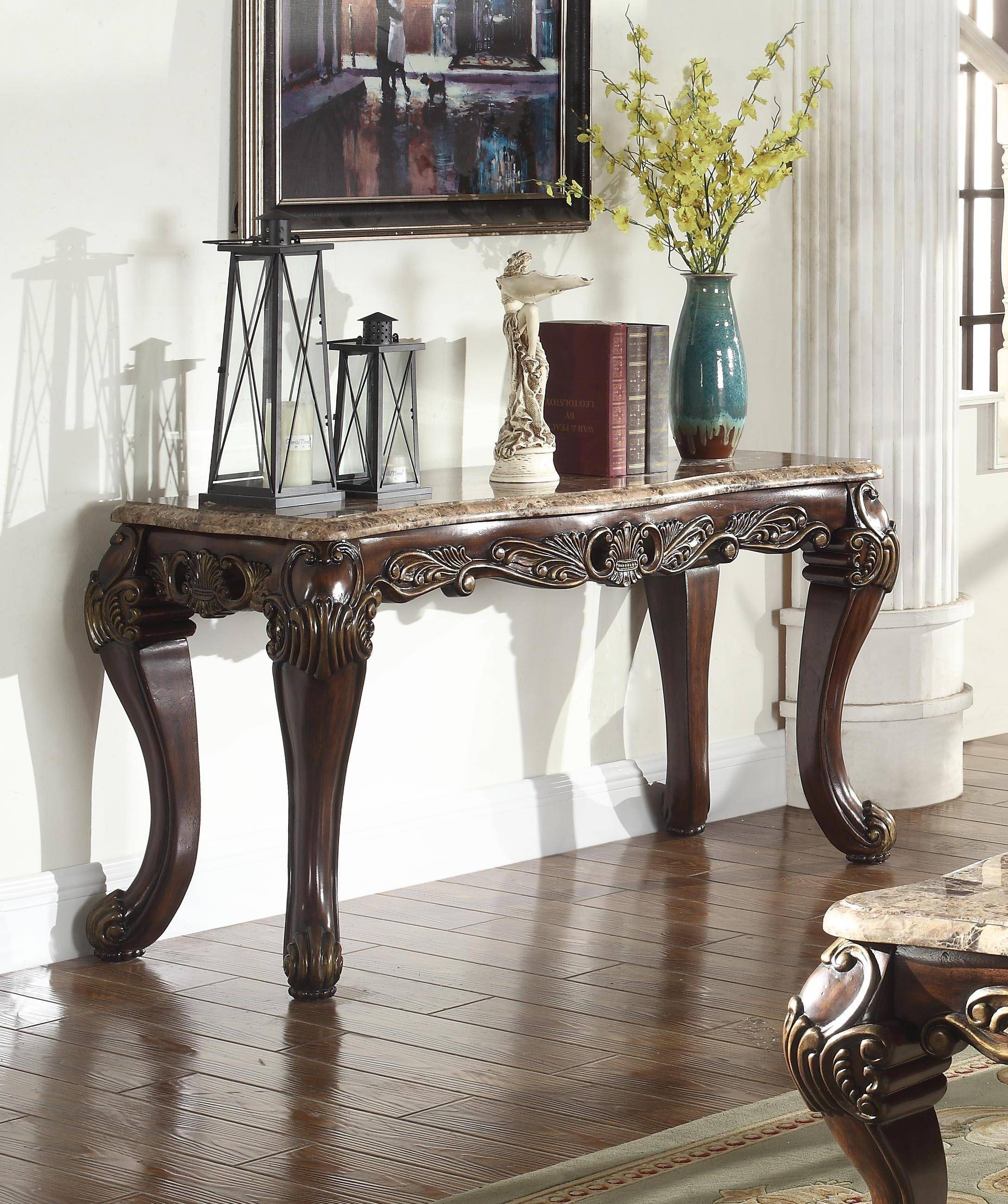 Mcferran T5190 Traditional Marble Top Cherry Finish Coffee Tables