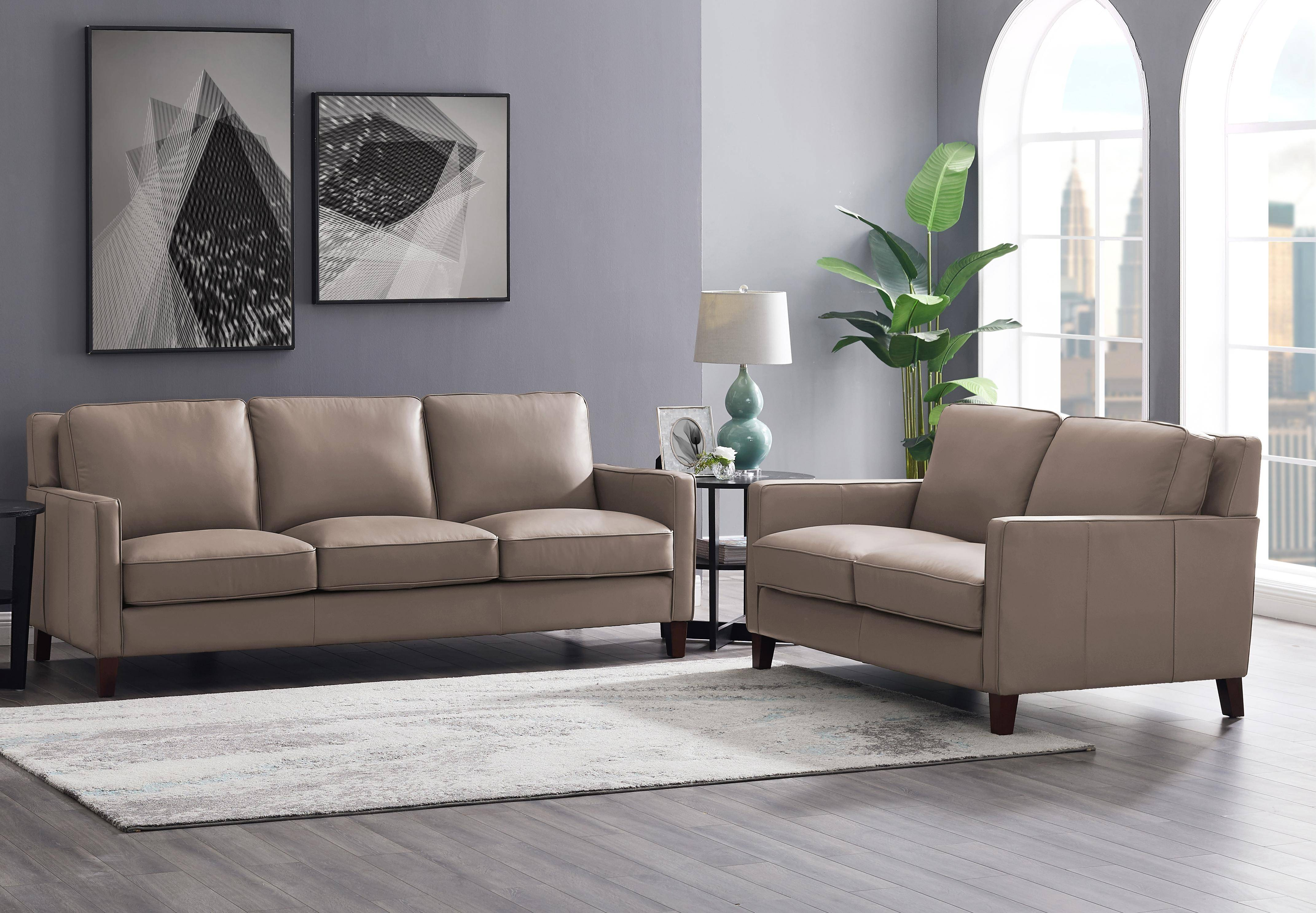 Taupe Top Grain Leather Sofa Loveseat Set 2p San Francisco Hydeline