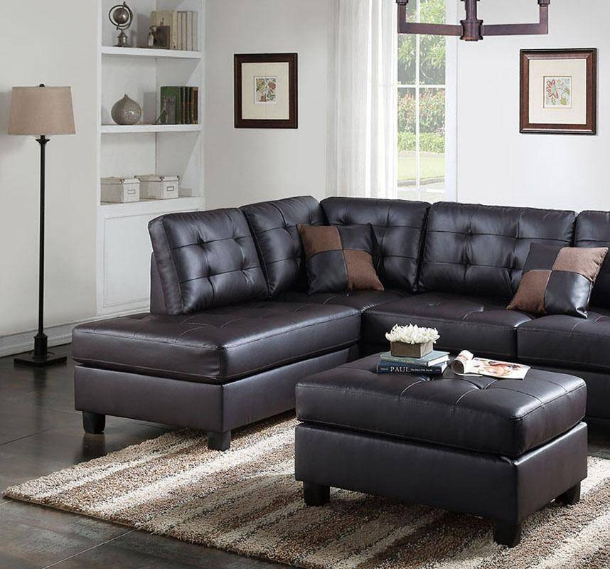 Brown Faux Leather Sectional Sofa Set 2-PcsF6855 Poundex Contemporary