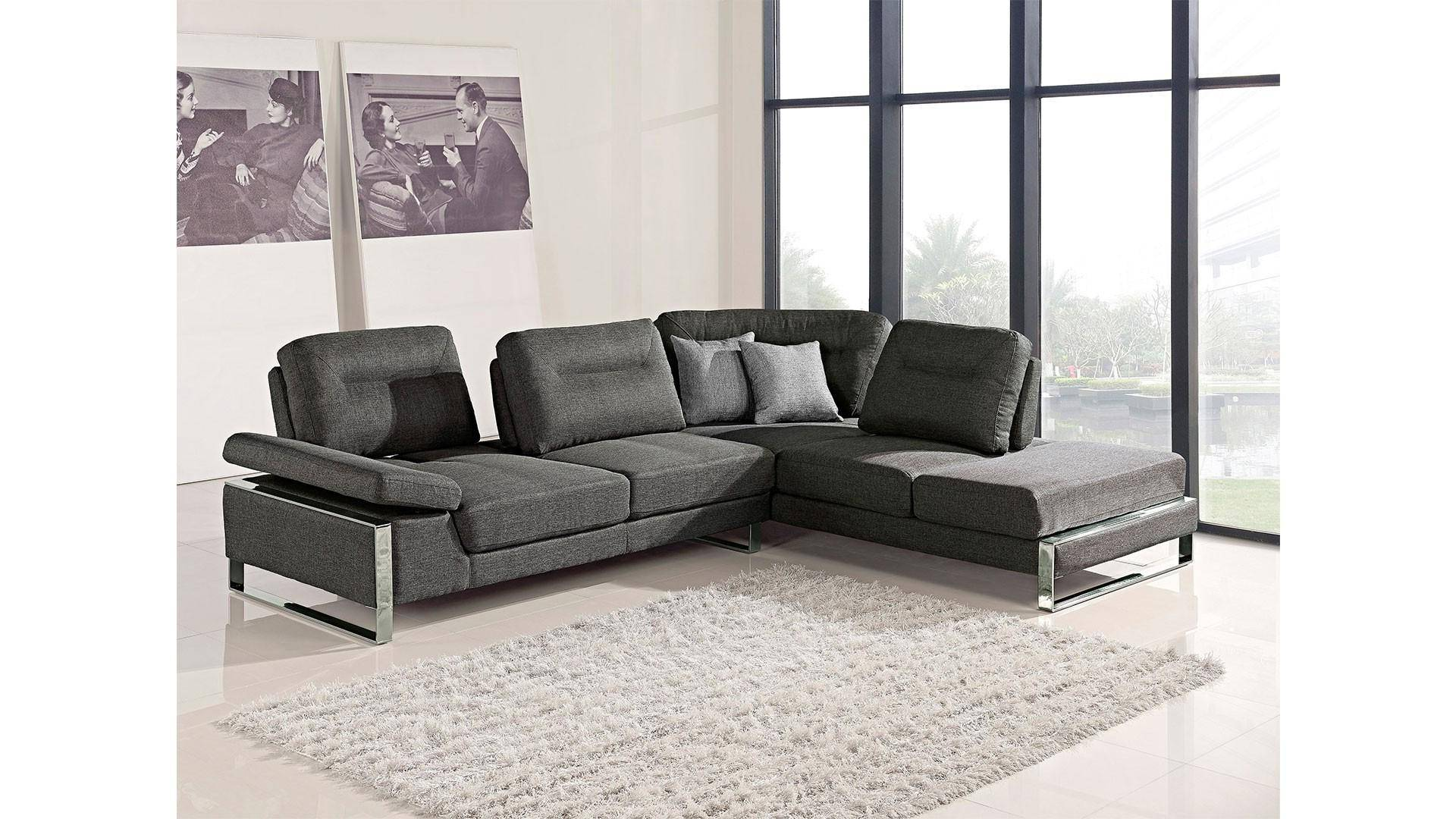Remarkable At Home Usa Verona Grey Fabric Ultra Modern Sectional Sofa Squirreltailoven Fun Painted Chair Ideas Images Squirreltailovenorg