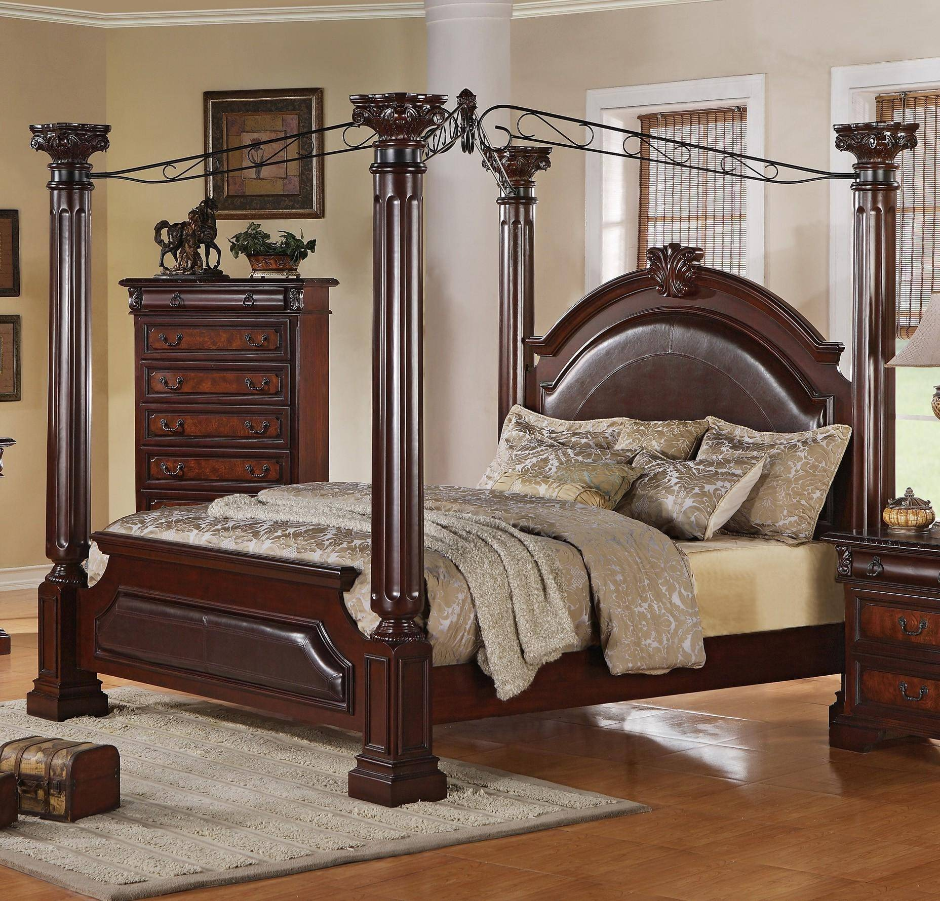 Crown Mark Neo Renaissance B1470 Q Traditional Canopy Bed