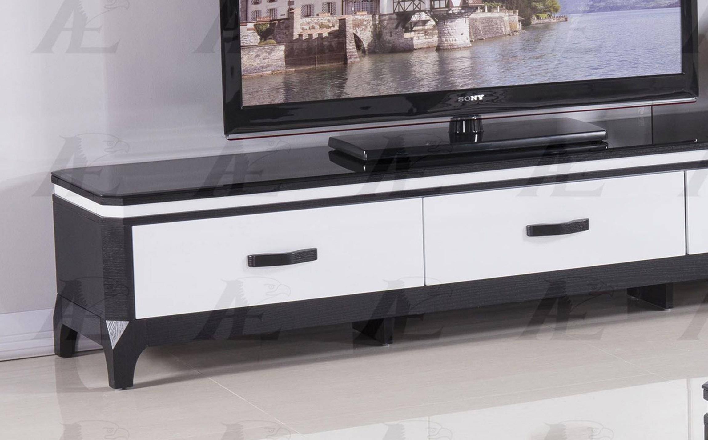 new york 31046 7609f American Eagle Furniture FC-C592 Black and White Tempered Glass Top TV Stand