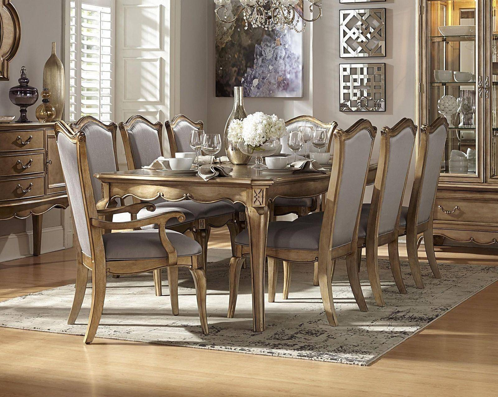 Homelegance 1828 92 Chambord Champagne Gold Wood Leaf Dining Table Set 9pсs 1828 92 1828ax2 1828sx6