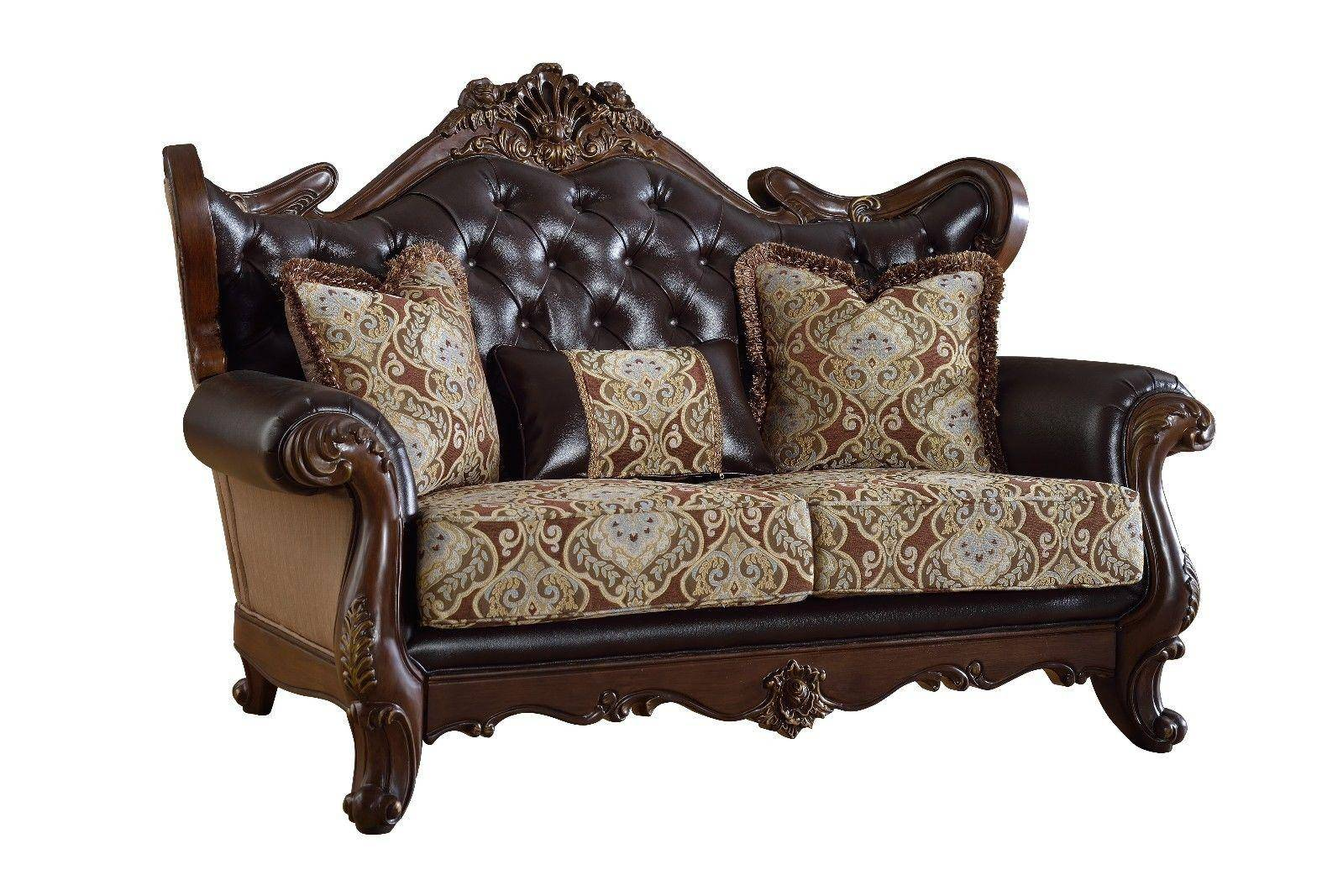 Meridian Furniture Moden Brown Leather & Rich Cherry