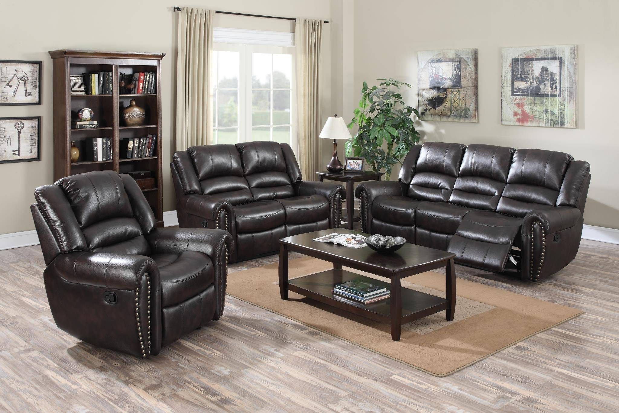 MYCO Furniture Abbie Dark Brown Leather Nailhead Air Reclining Power ...