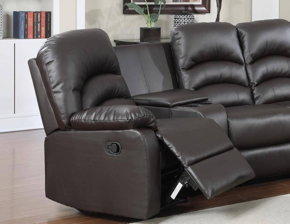 Ventura Reclining Brown Leather Sectional W Ottoman Home
