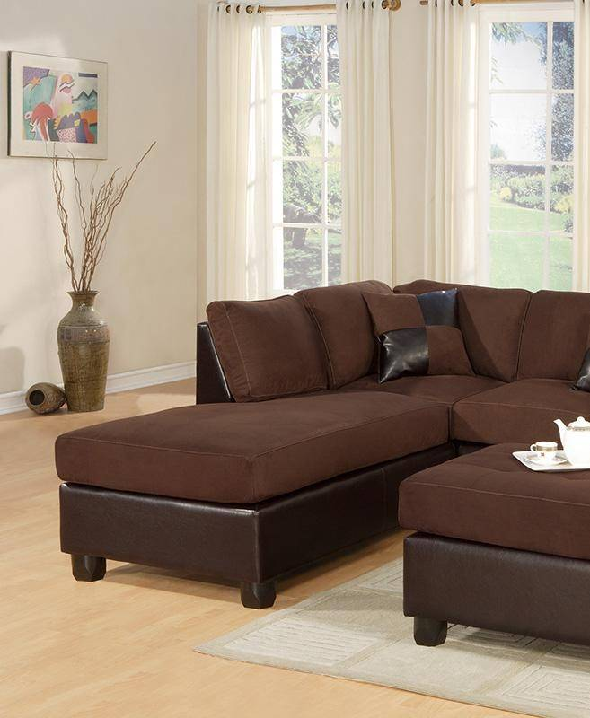 Roomstore Furniture Store: Brown Fabric Chicolate Faux Leather Sectional W/ Ottoman