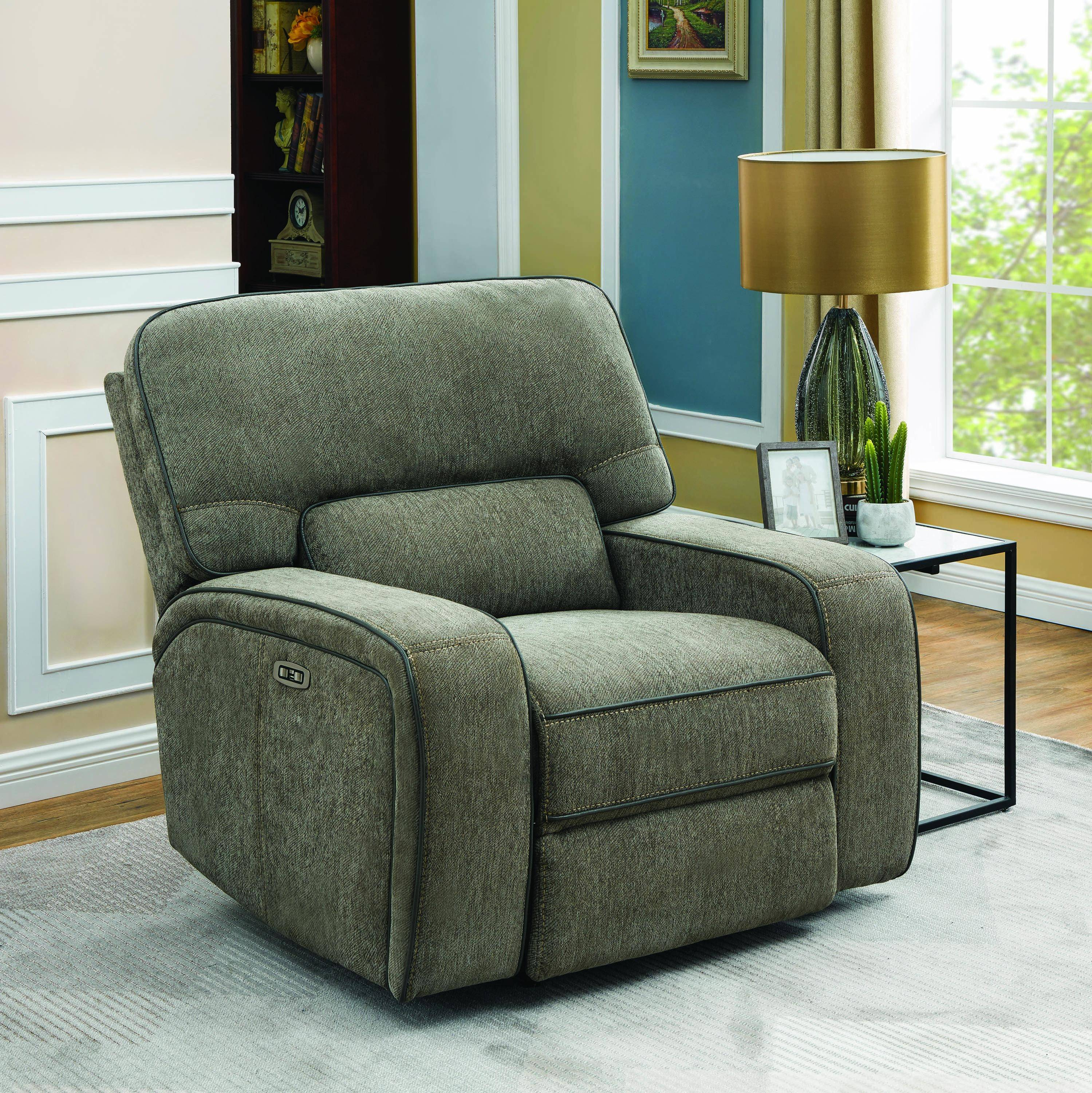 Roomstore Furniture Store: Modern Gray Fabric Upholstery Power2 Glider Recliner