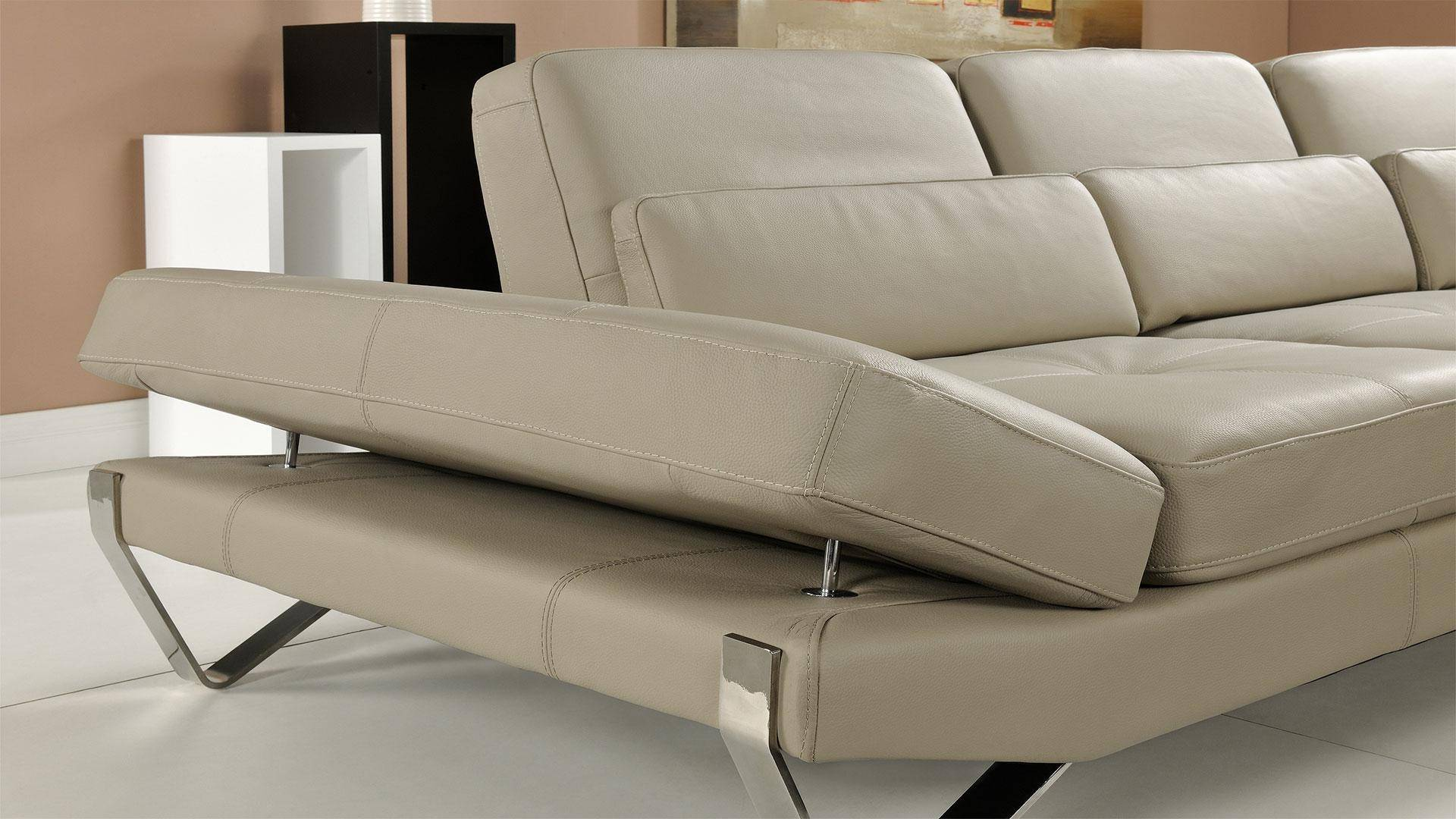 At Home Usa Bianca Beige Sectional Couch Italian Leather
