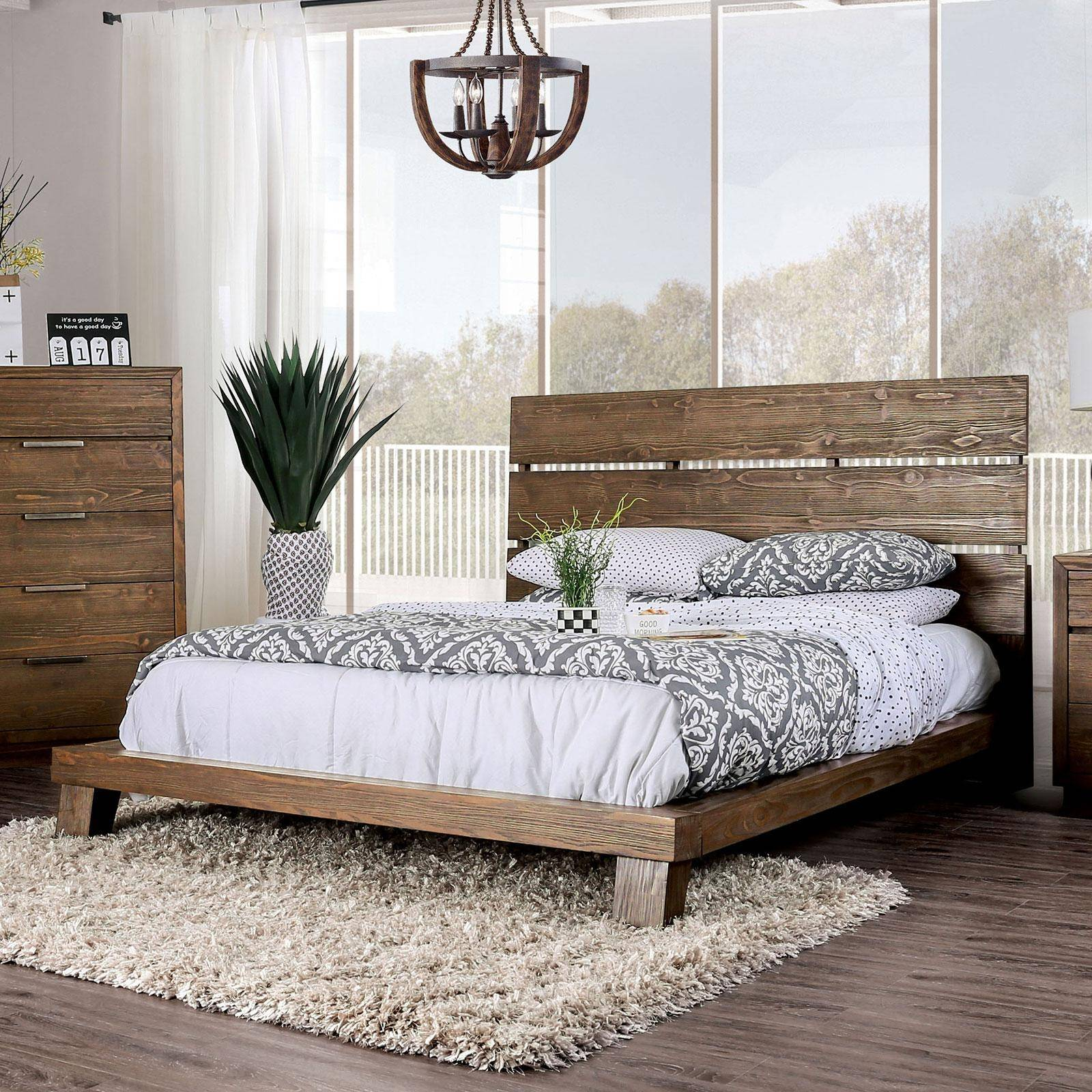 Rustic Wood California King Platform Bed In Brown Tolna By Furniture Of America Cm7532ck Bed