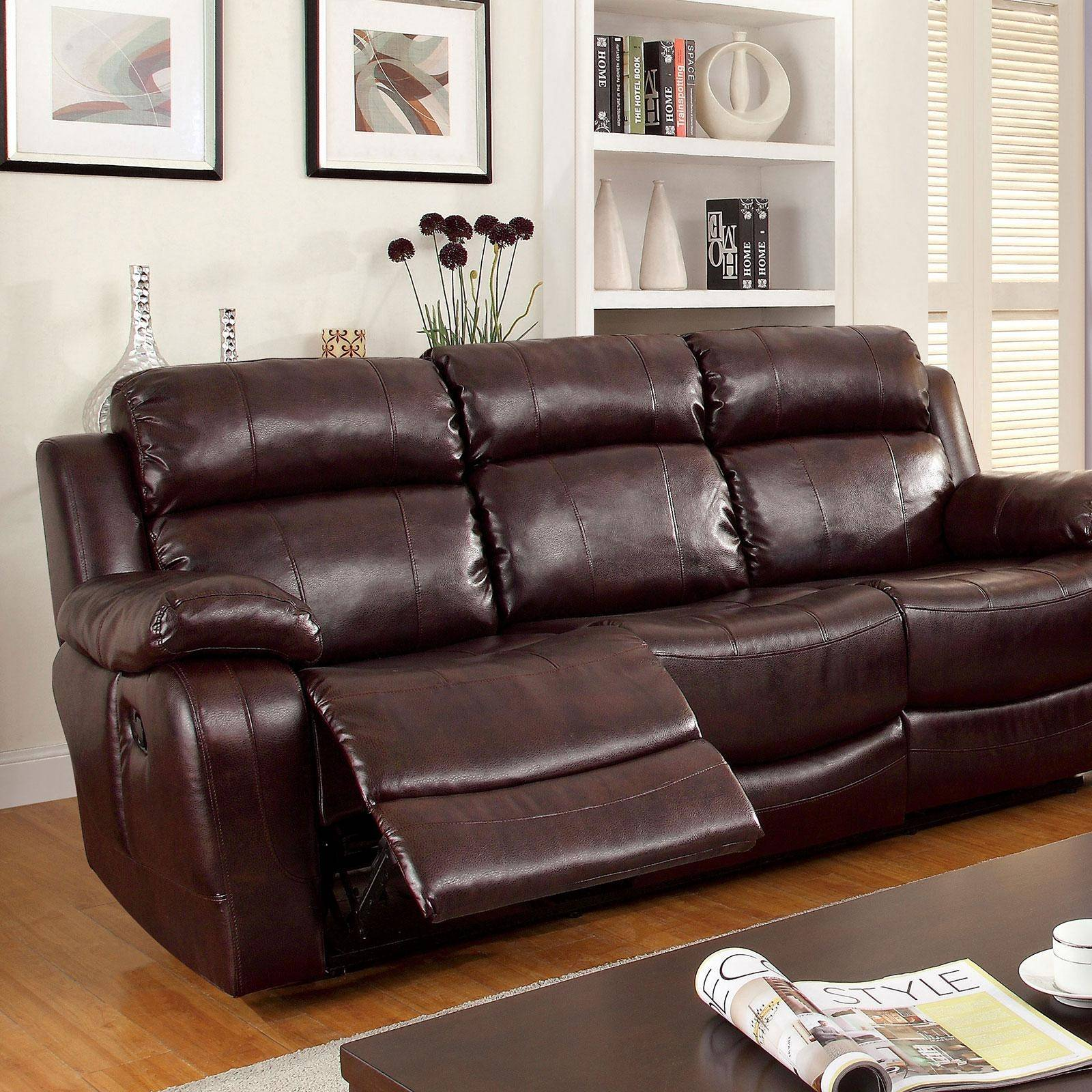 Swell Transitional Brown Bonded Leather Upholstery Reclining Sofa Hughes Foa Group Pdpeps Interior Chair Design Pdpepsorg