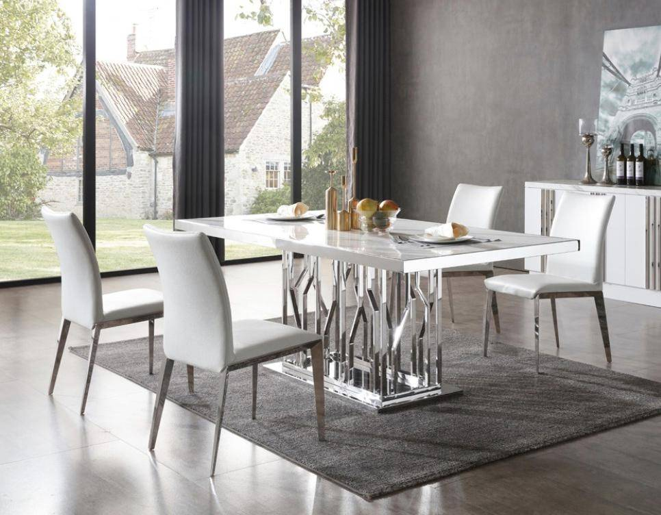 White Marble Amp Stainless Steel Dining Table Vig Modrest