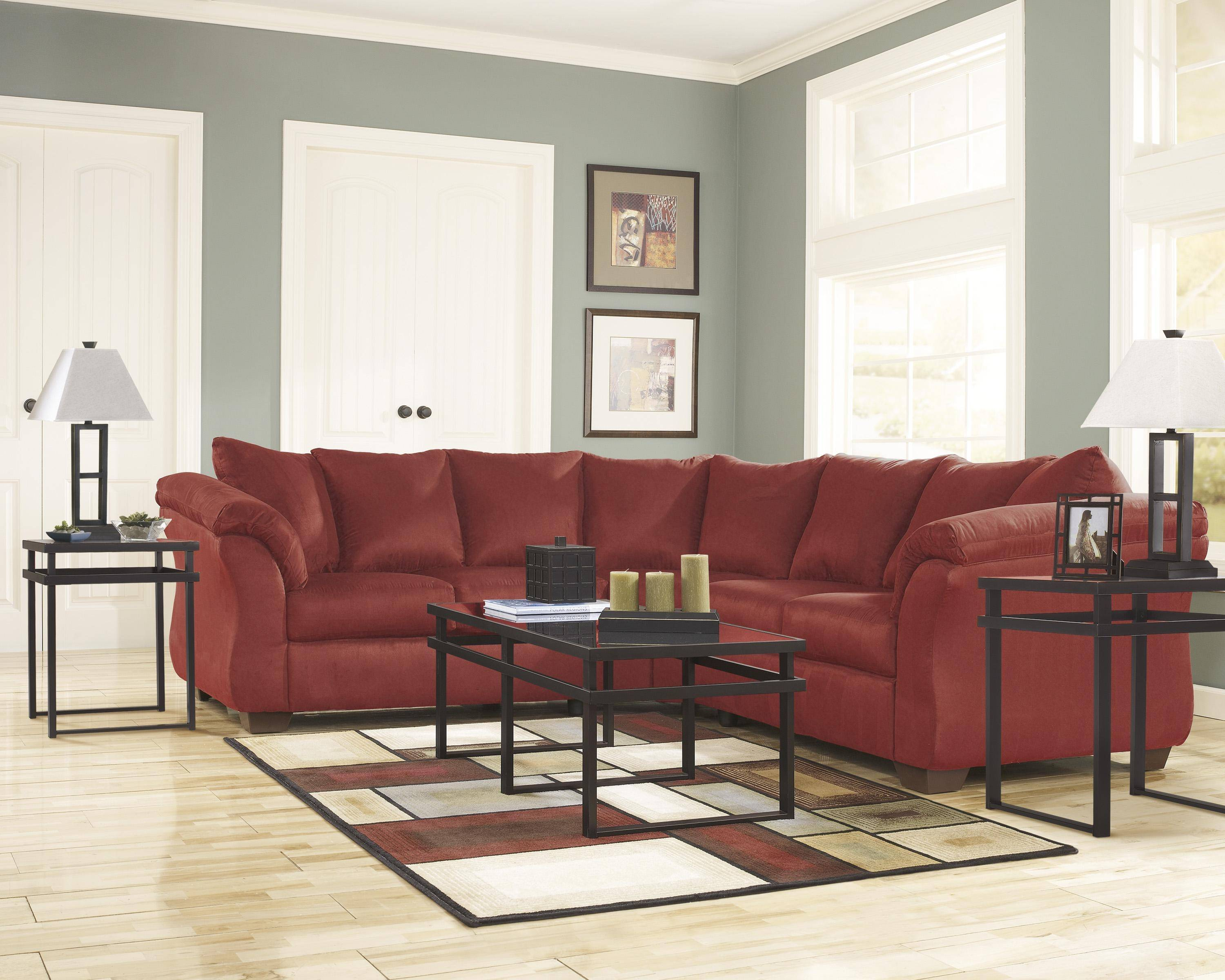 Pleasant Ashley Darcy 2 Piece Sectional In Salsa 75001 55 56 Kit Alphanode Cool Chair Designs And Ideas Alphanodeonline