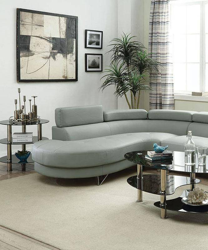 Gray Faux Leather Sectional Sofa F6984