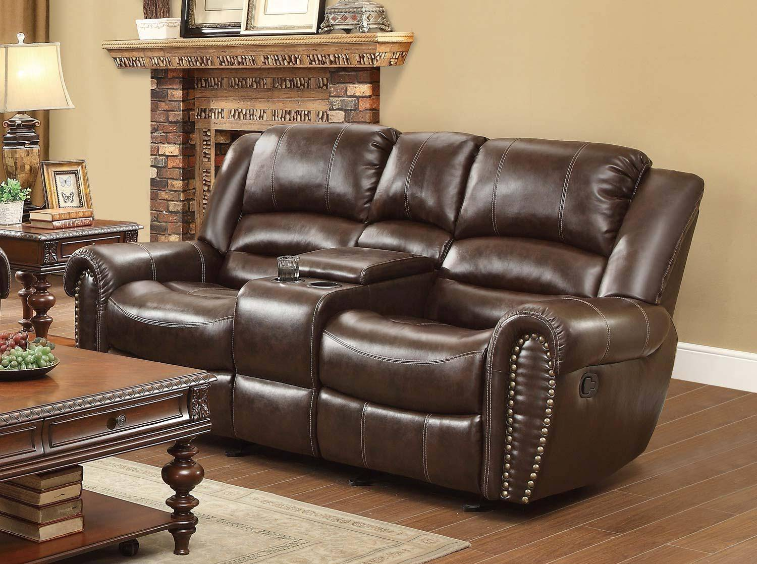 Homelegance Center Hill Brown Bonded Leather Power Dual Reclining ...