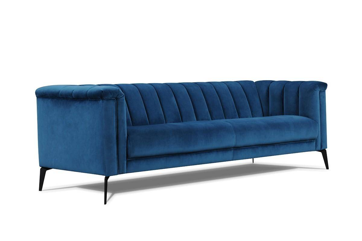 Teal Blue Velvet Tufted Sofa VIG Divani Casa Jeremy Modern Contemporary