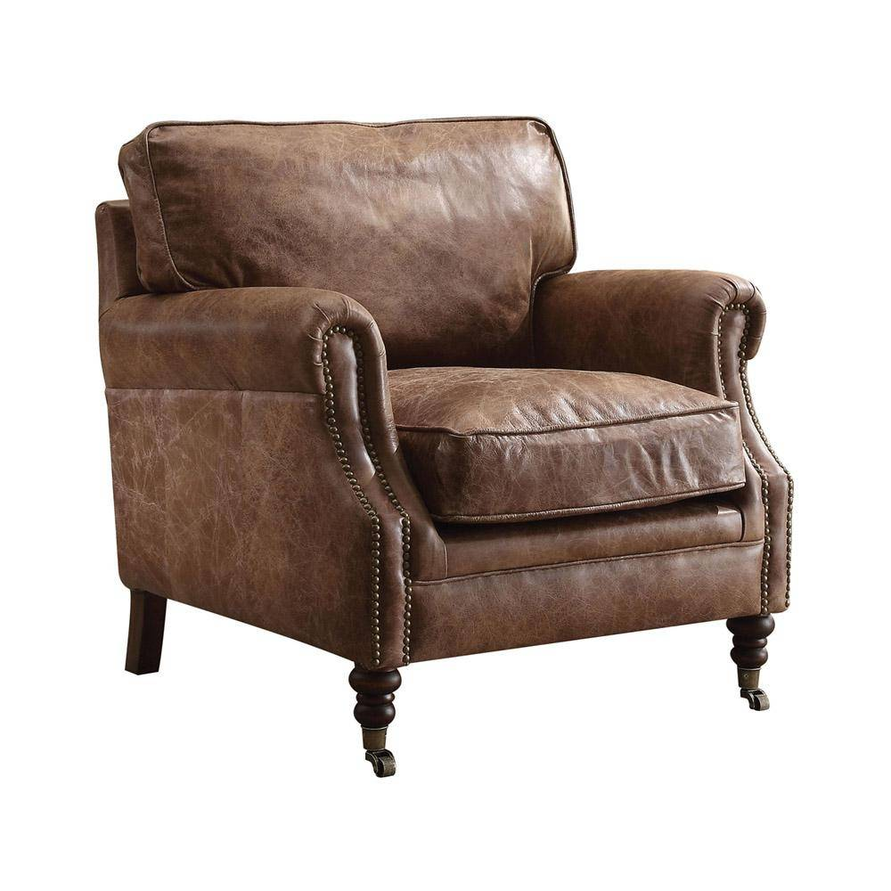 Leatjer Accent Chair Set: Brown Genuine Leather Accent Chair W/End Table Set Acme