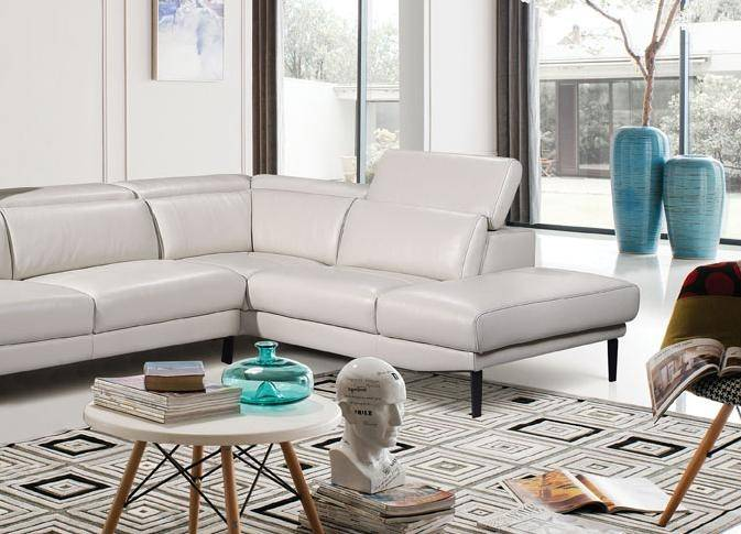 Prime Esf 1511 Modern Off White Half Leather Corner Sectional Sofa Rhc Contemporary Caraccident5 Cool Chair Designs And Ideas Caraccident5Info