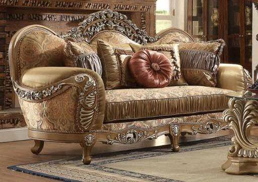 Homey Design Hd 622 Luxury Upholstery Antique Brown Carved Wood Traditional Living Room Set 8pcs Hd 622 Set 8