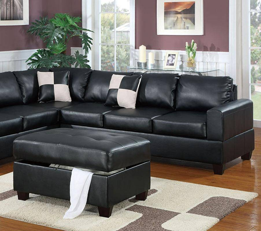 Sectional Sofa w/ Ottoman F7355 Black Bonded Leather Poundex Modern