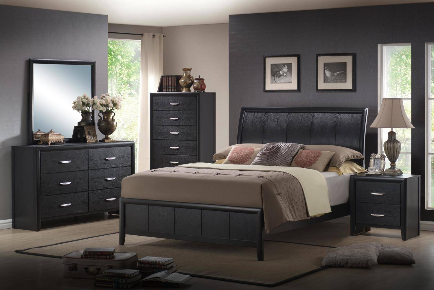 MYCO Furniture MN4840-Q Monet Black Queen Sleigh Bed Set 3Pcs w/2  Nightstands