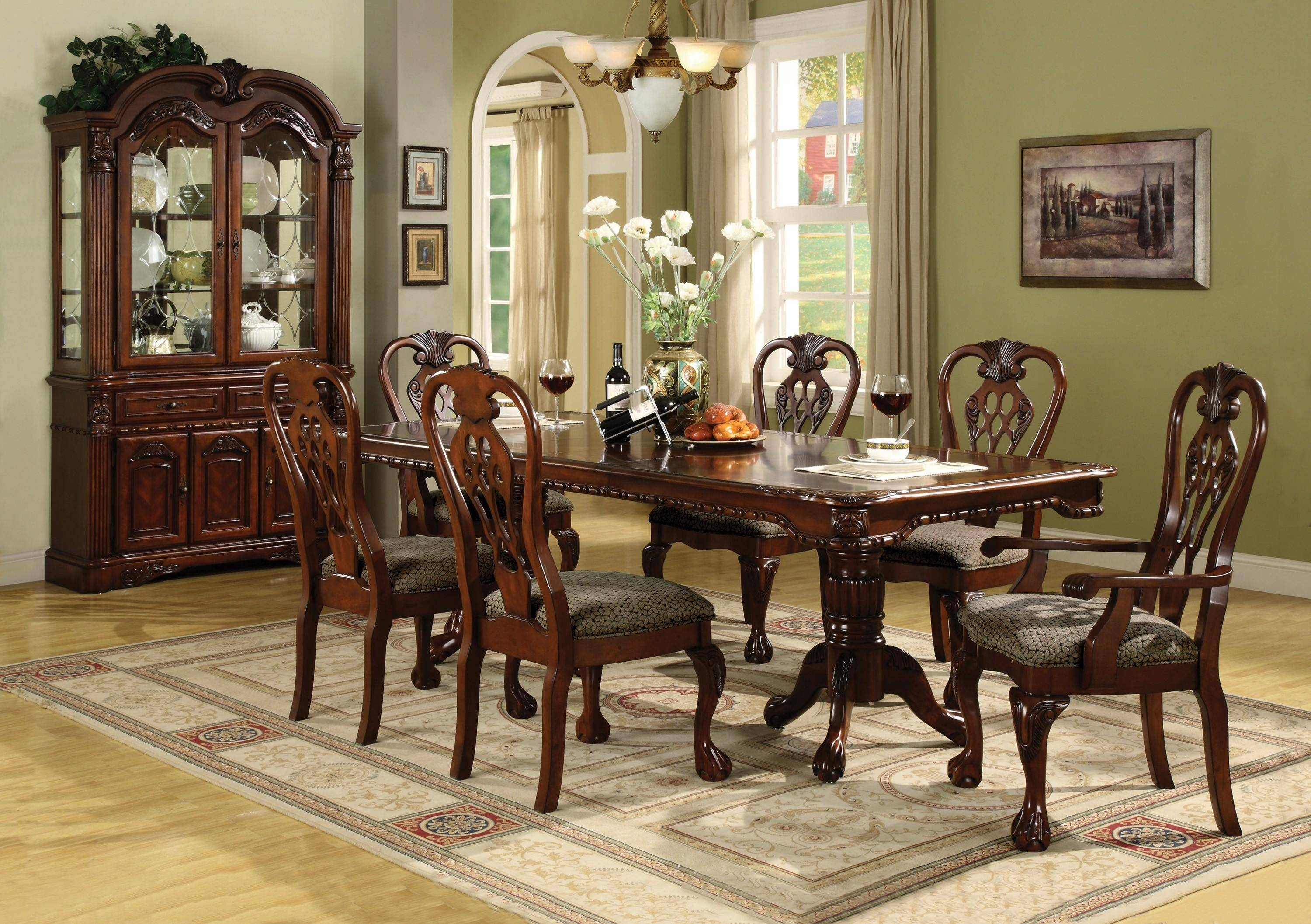 crown mark brussels traditional wood dining table set 7pcs 2470 rh nyfurnitureoutlets com