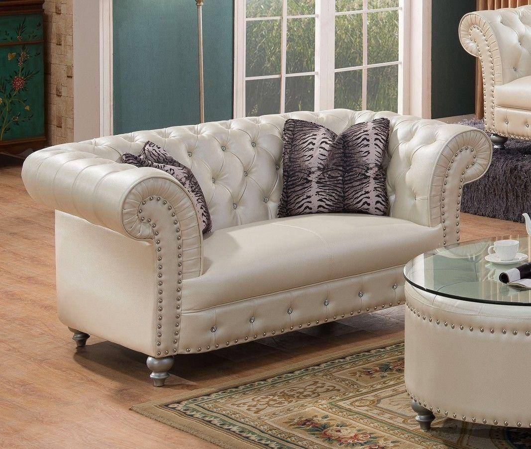 Leather Sofa Beige: McFerran SF1708-S Beige Bonded Leather Crystal Tufted Sofa