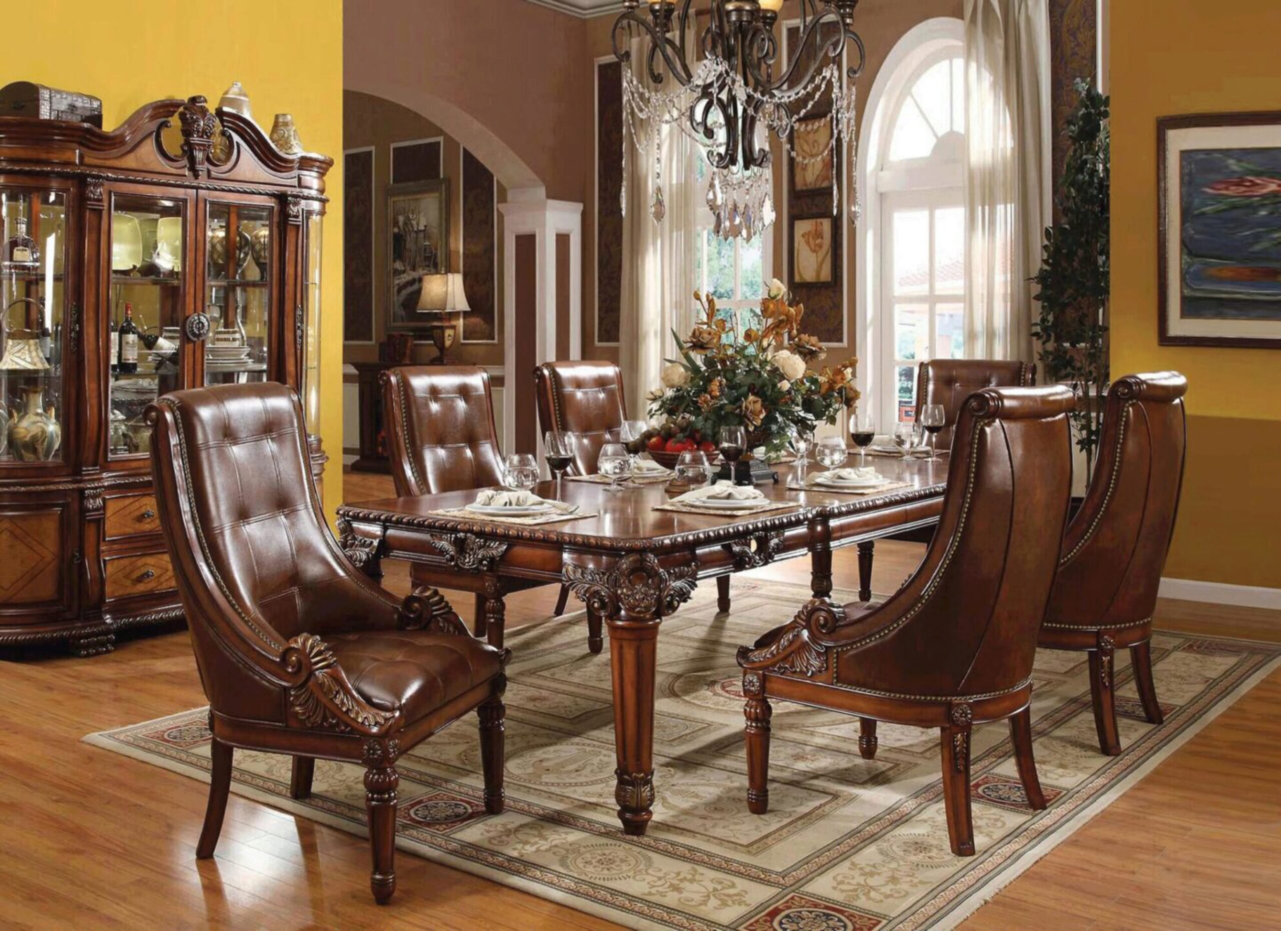 Cherry Carved Wood Dining Table Set, Cherry Wood Dining Room Sets