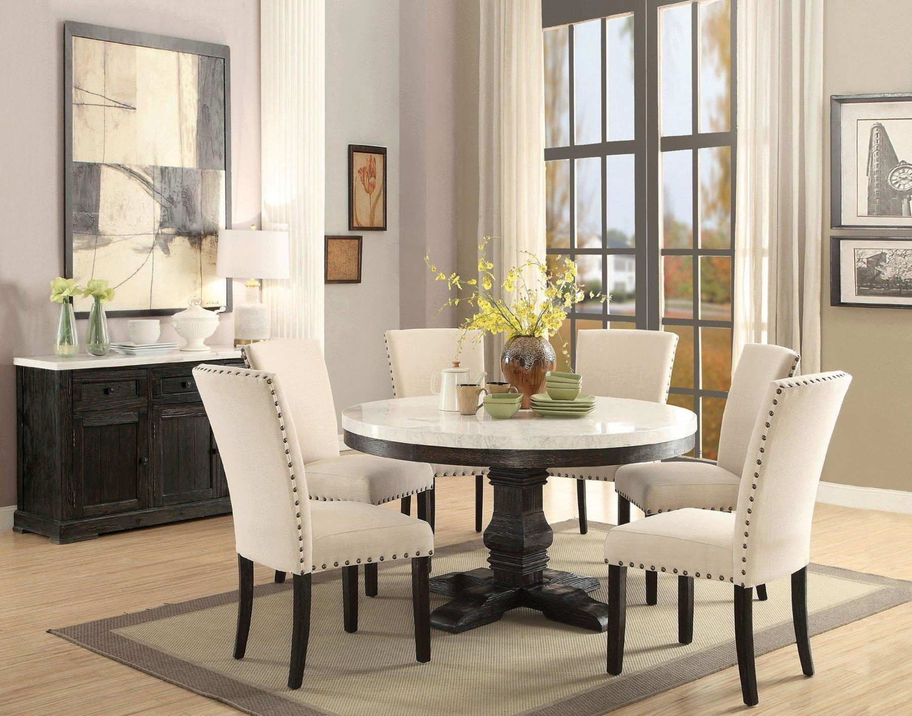 White Marble Top Black Round Dining Table Set 5 Pcs Acme Furniture 72845 Nolan Nolan 72845 Set 5