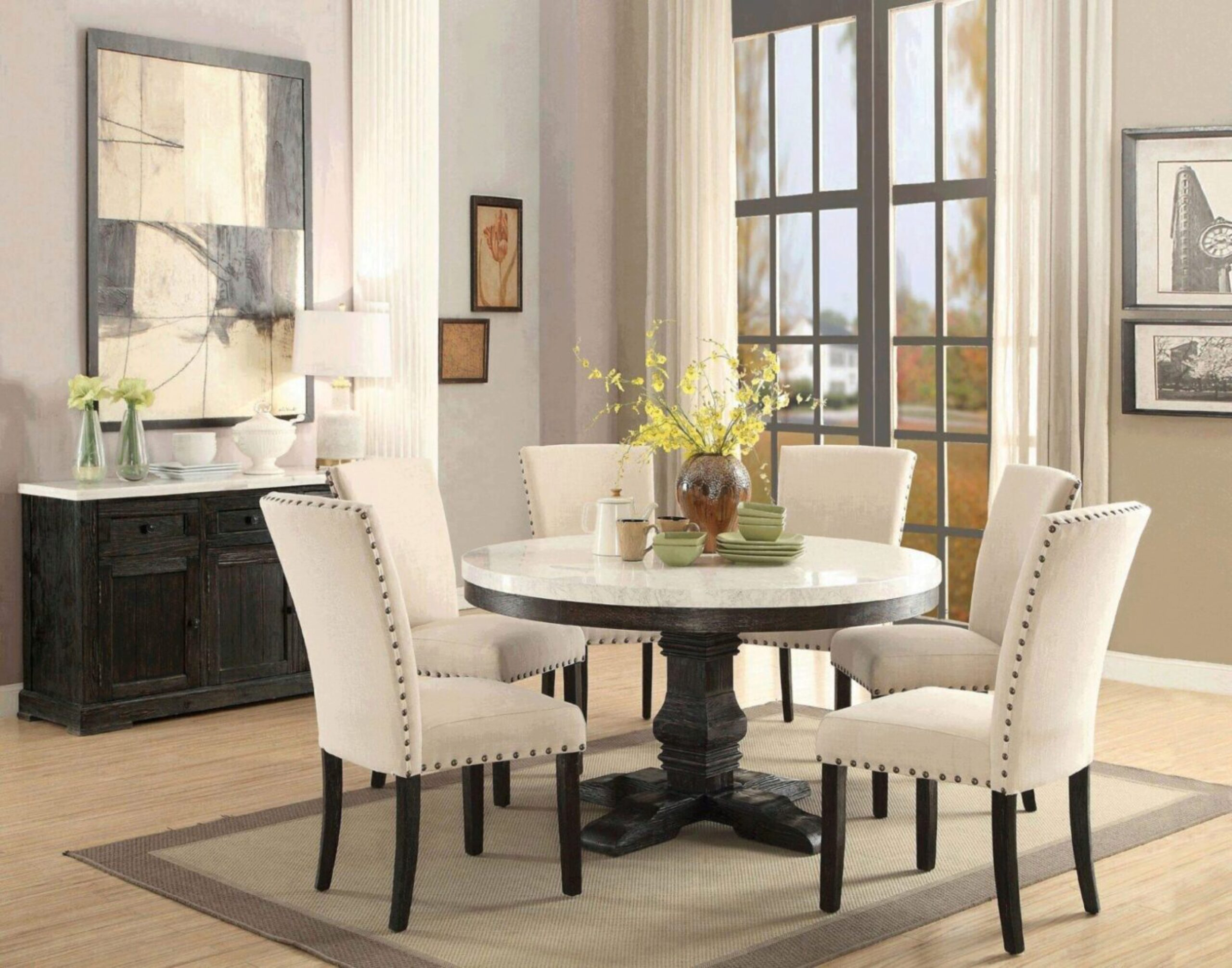 White Marble Top Black Round Dining, Black And White Dining Room Set