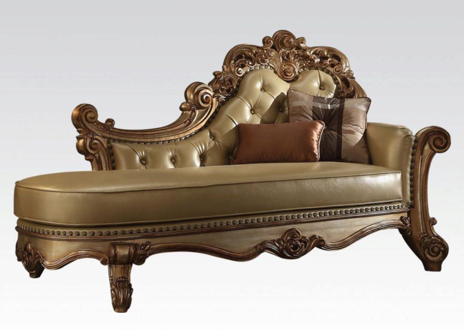Acme Furniture 96485 Vendome Bone Gold Patina Tufted Chaise Lounge 96485 Vendome Chaise