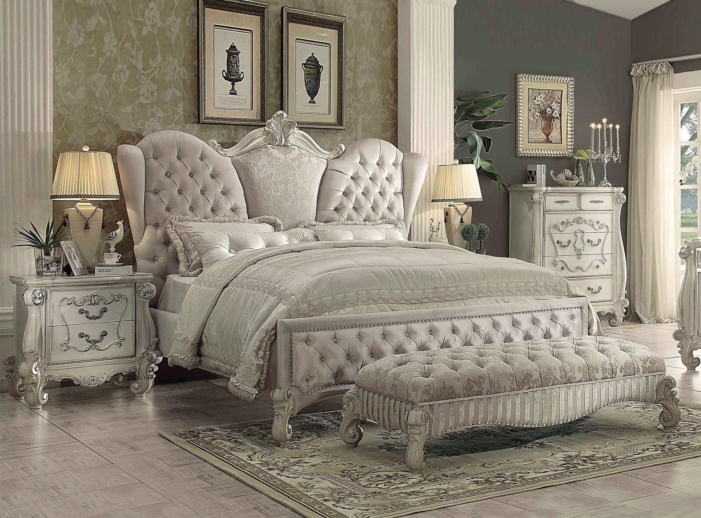 Crystal Tufting Grey Velvet King Size Bedroom Set 5Pcs ...