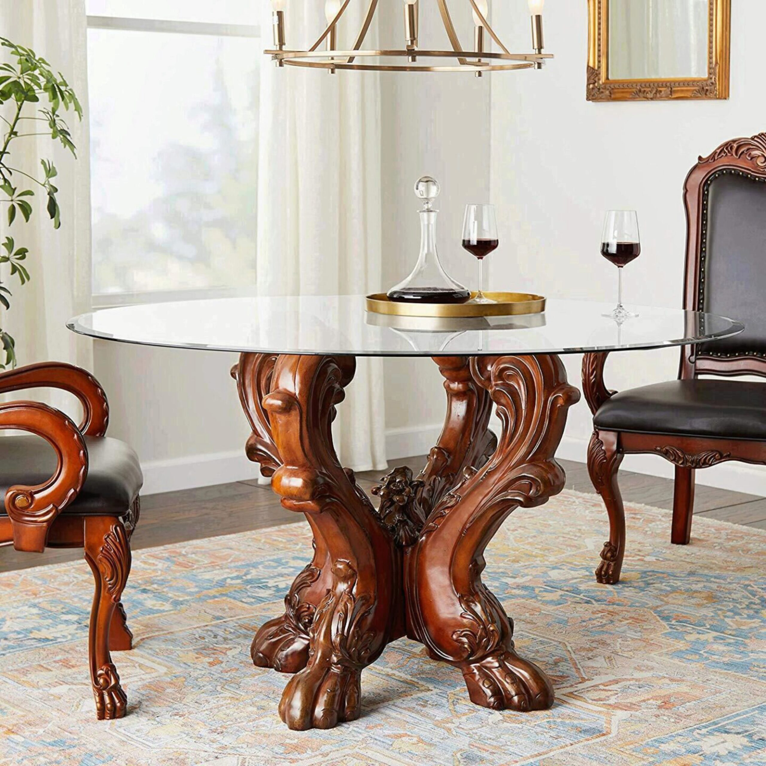 Cherry Oak Glass Round Dining Table Set 9Pcs Traditional Acme Furniture  Dresden 9
