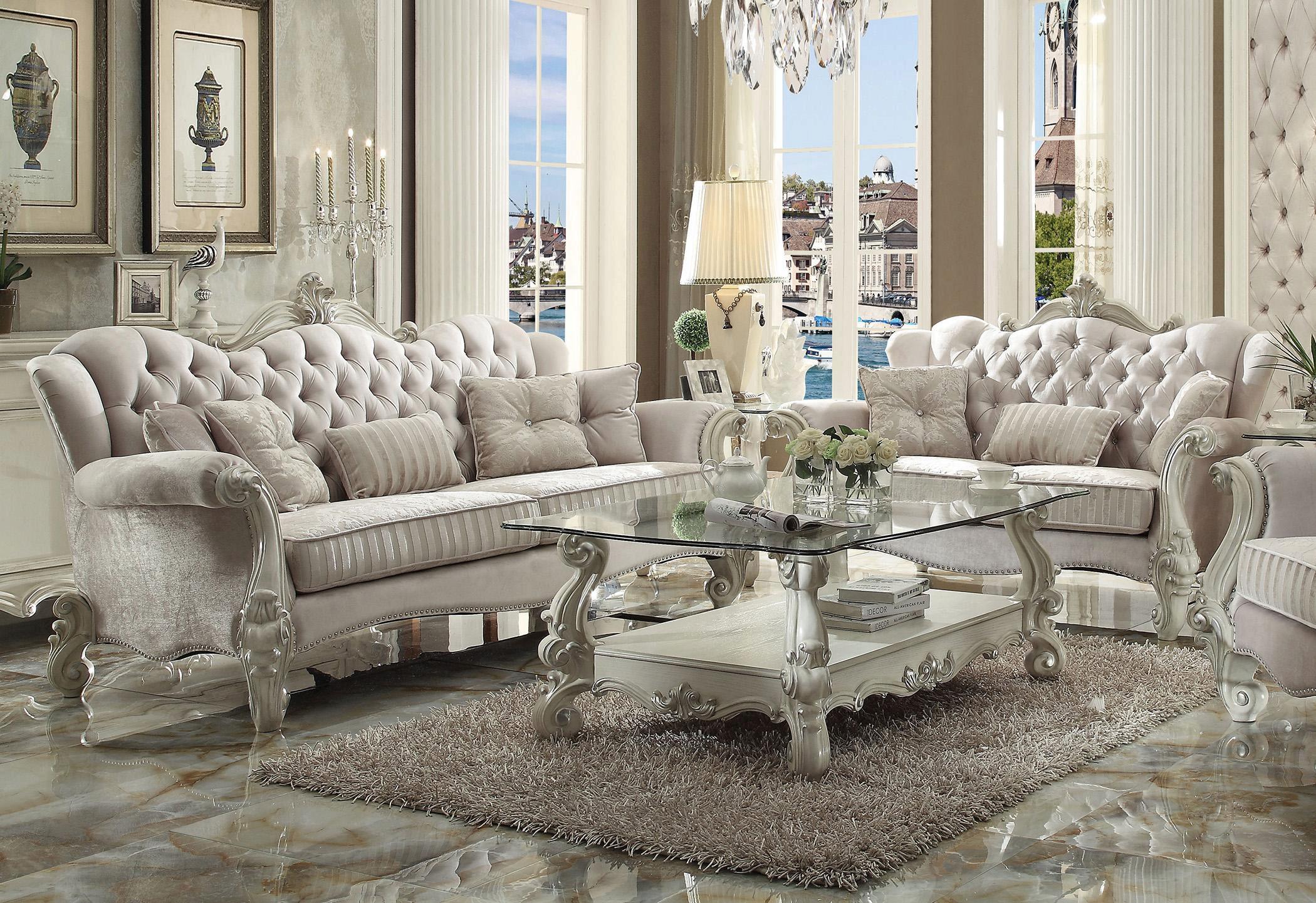 Ivory Velvet Bone White Sofa Vintage Traditional Versailles 52105 Acme Versailles 52105 Sofa
