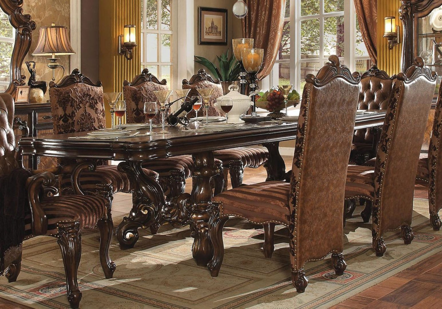 Cherry Oak Extendable Dining Room Set 7pcs Acme Furniture 61100 Versailles 61100 Versailles Set 7