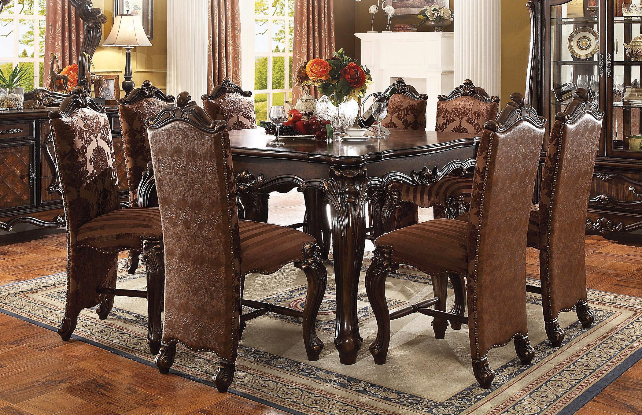 Cherry Oak Dining Table Set 8pcs W Curio Traditional Vintage Acme Versailles 61155 Versailles 61155 Set 8