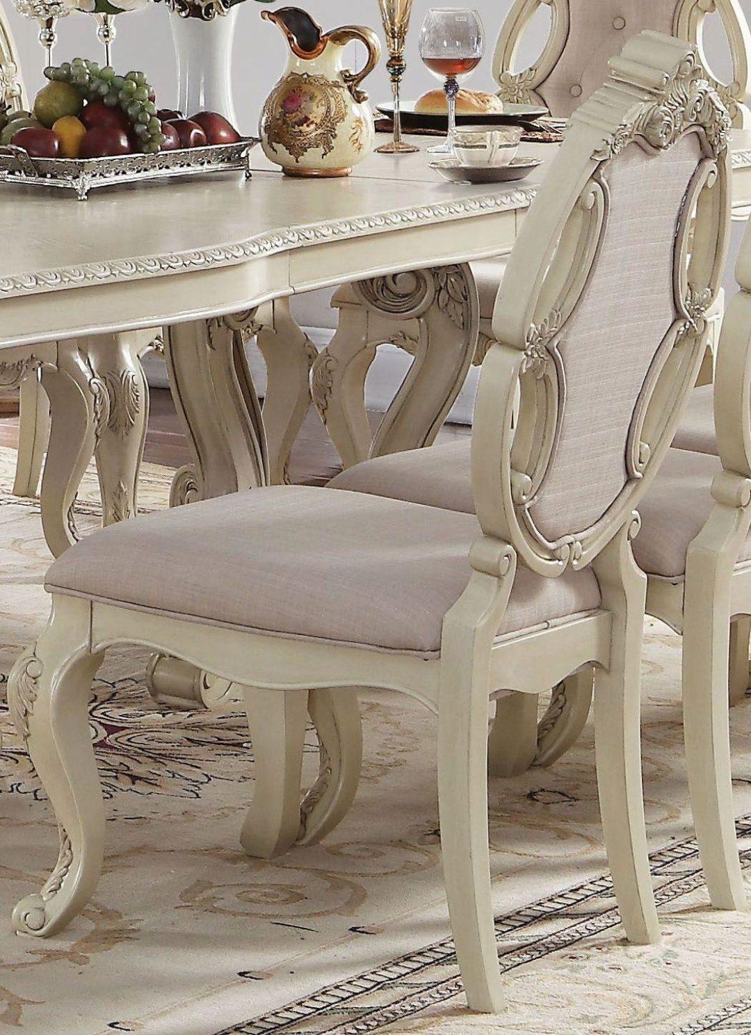 antique white rectangular dining table set 9pcs acme