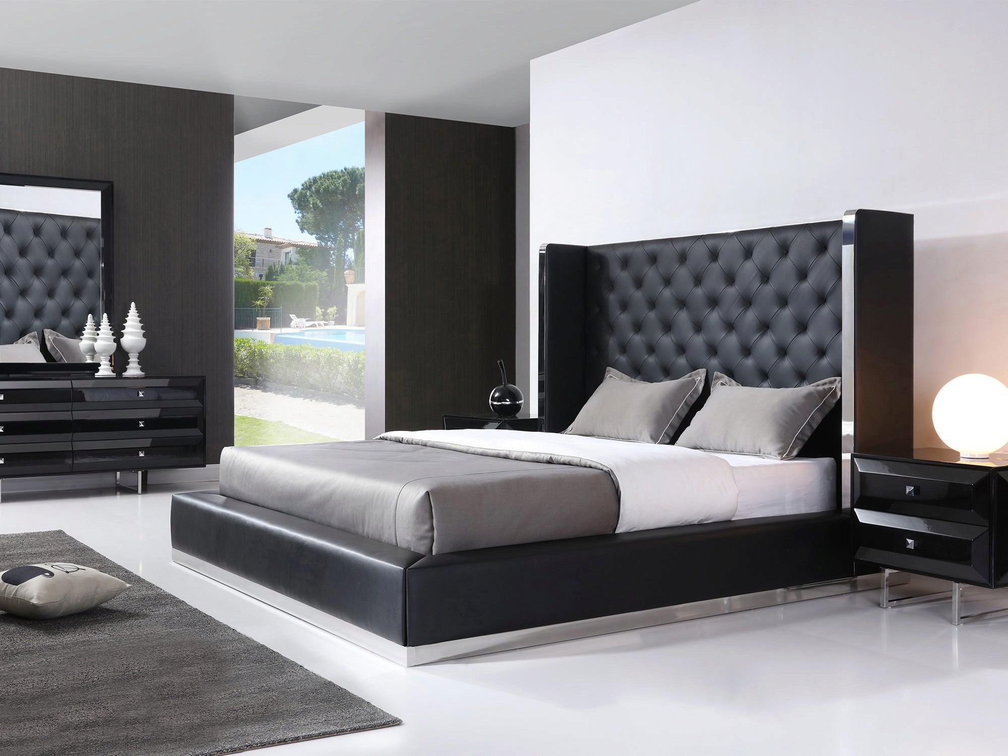 Button Tufted Tall Hb Platform Aesara King Bedroom Set 5pcs Contemporary Modern Aesara Ek Bed Set 5