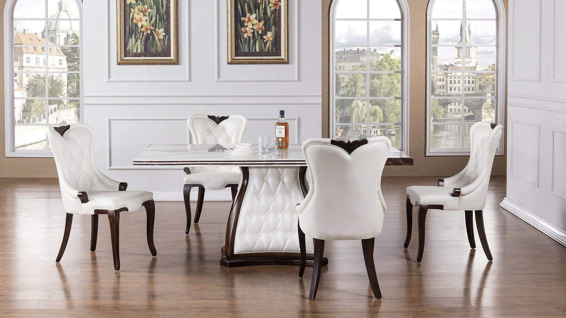 white faux marble top dining table set 5pcs american eagle