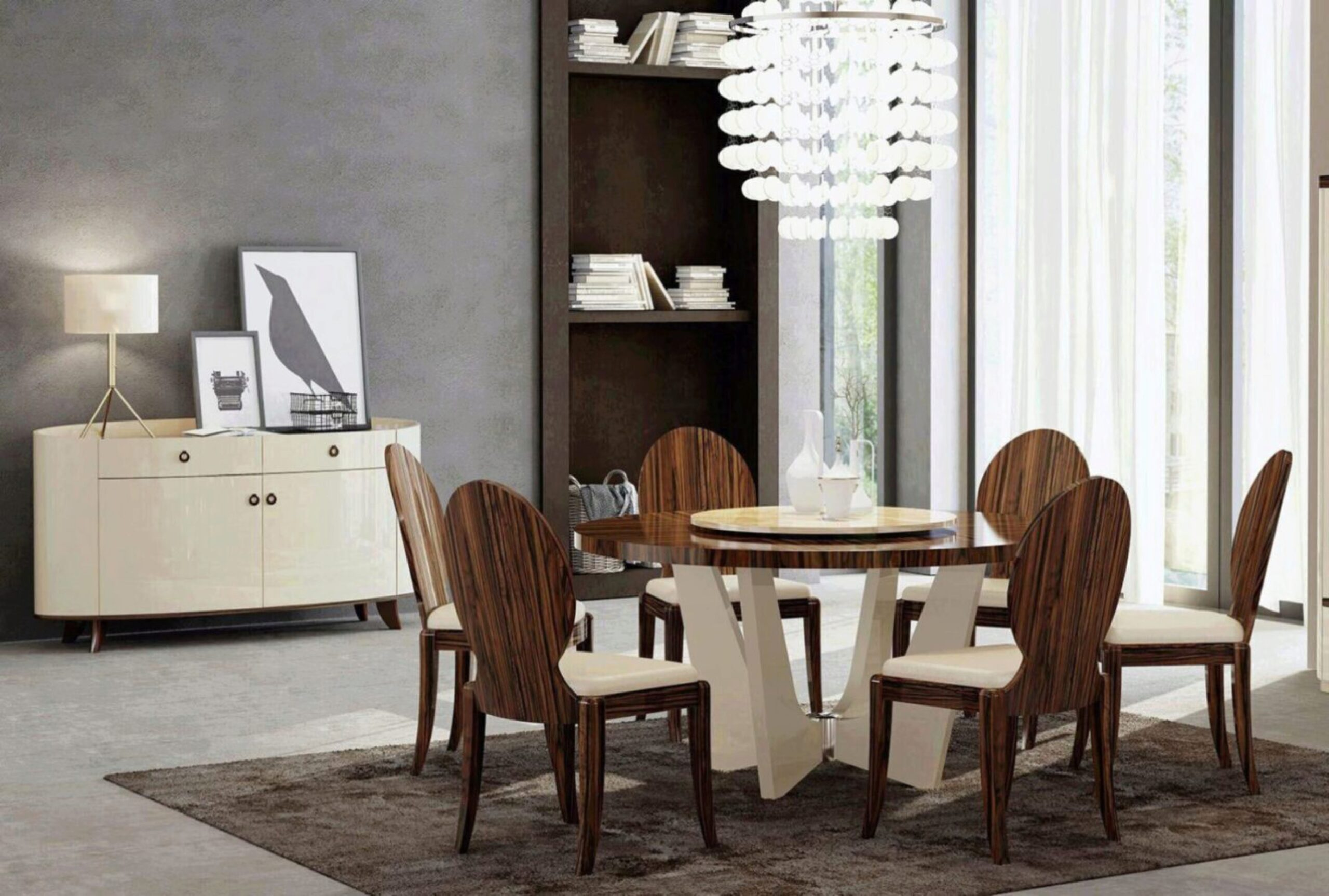 Modern Design Rosewood Dining Room Set, Dining Room Table For 8