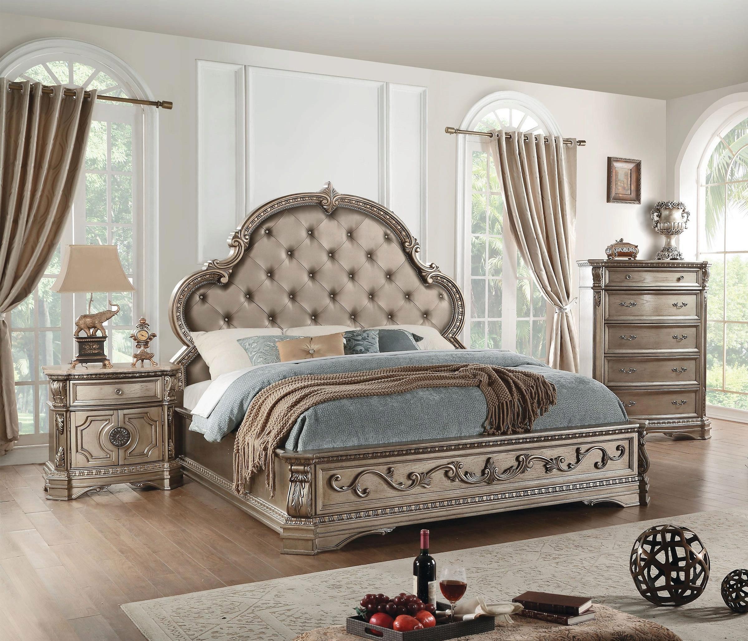 King Panel Bedroom Set 3pcs Antique Champagne 26927ek Northville Acme Traditional Northville 26927ek Set 3