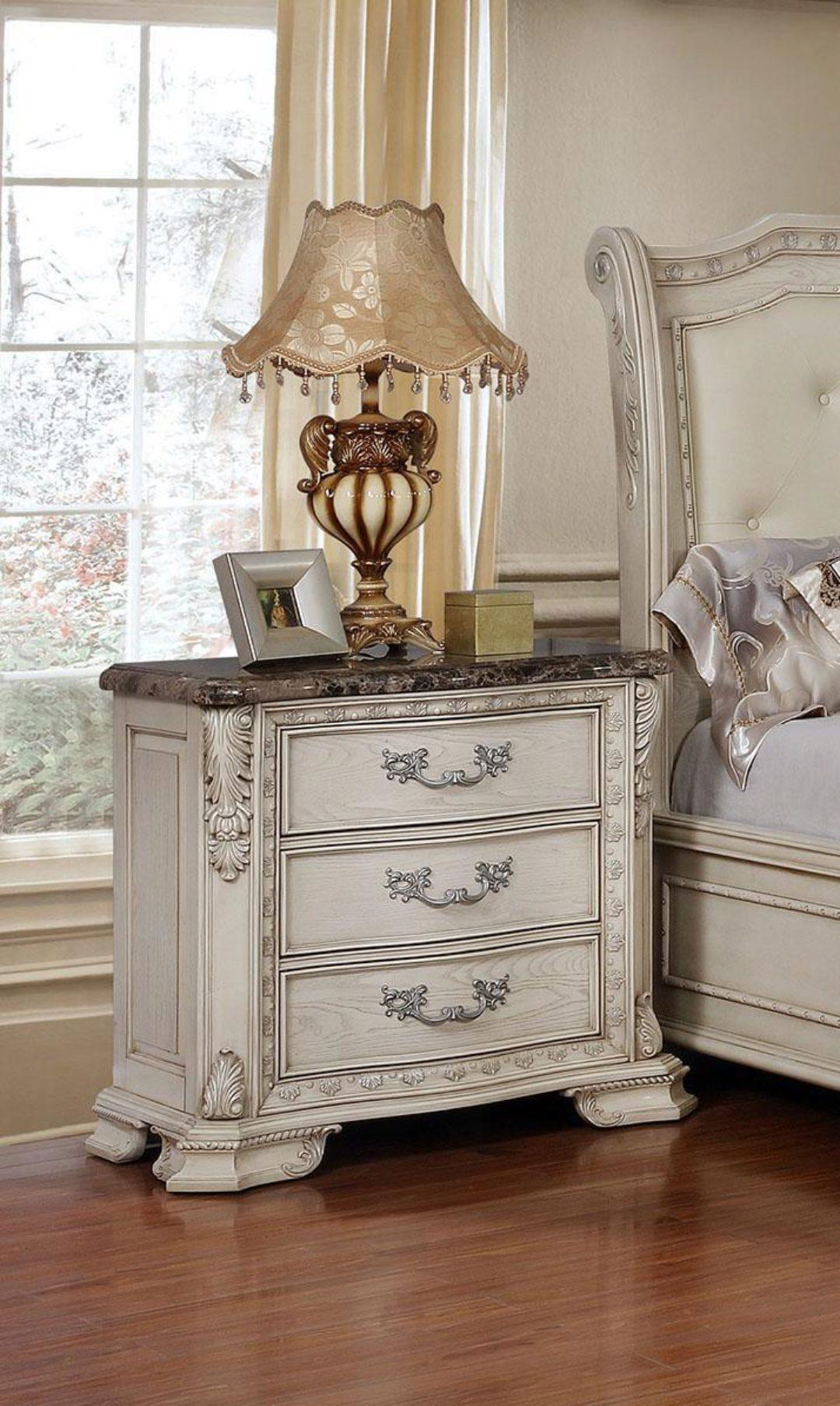 antique white tufted king size bedroom set 5pcs