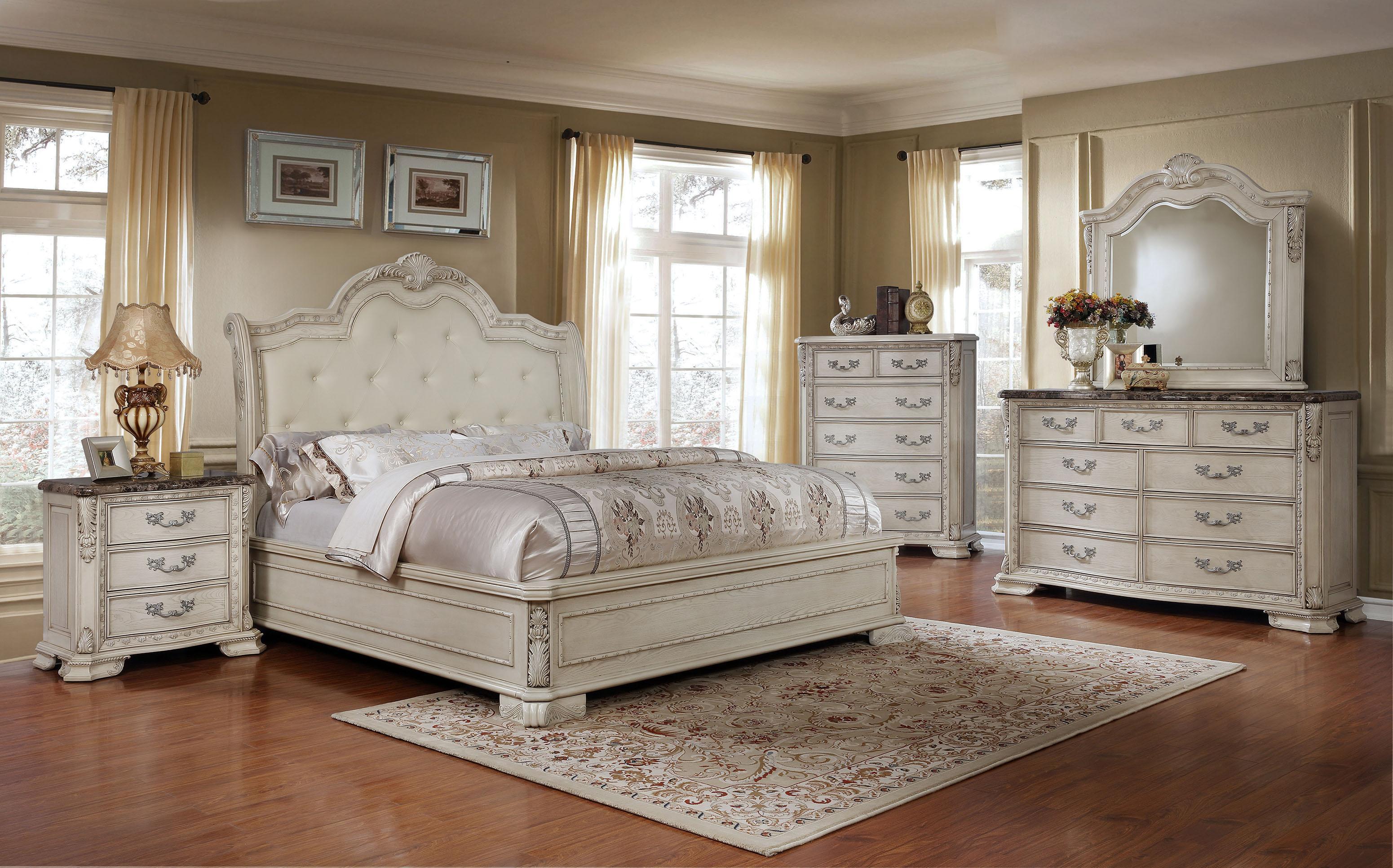 antique white tufted king size bedroom set 5pcs traditional mcferran b1000 (b1000-ek-set-5) buy