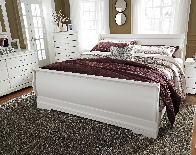 Ashley Anarasia B129 King Size Sleigh Bedroom Set 5pcs In White B129 31 36 46 78 76 97 92 Set 5