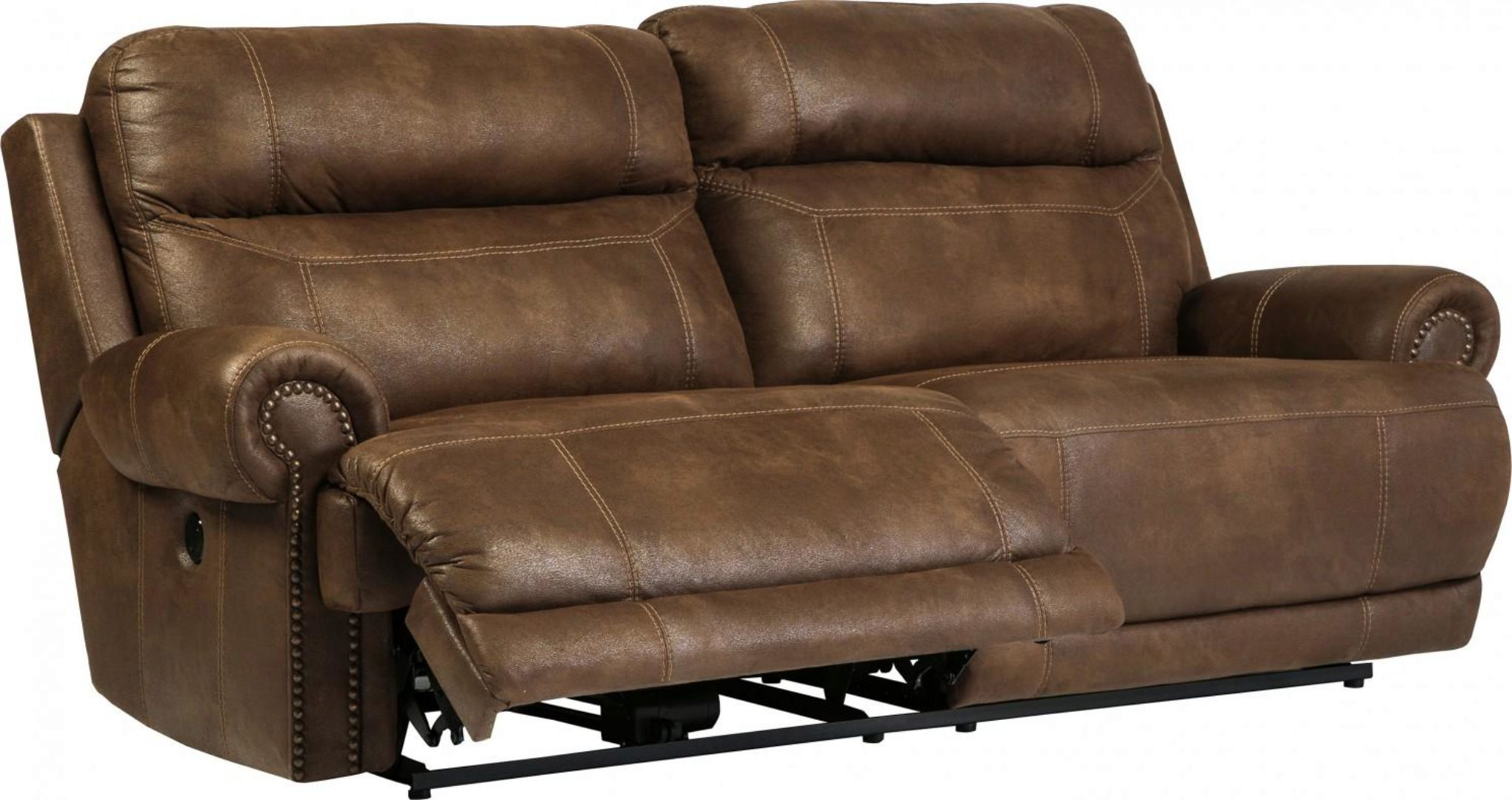 Brown Faux Leather Reclining Sofa Set 3pcs Power Contemporary Ashley Austere 38400 47 96 82 Kit