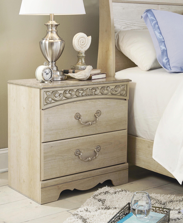Ashley Catalina B196 King Size Panel Bedroom Set 5pcs In Antique White 3172 B196 68 66 99 92 2 31 36