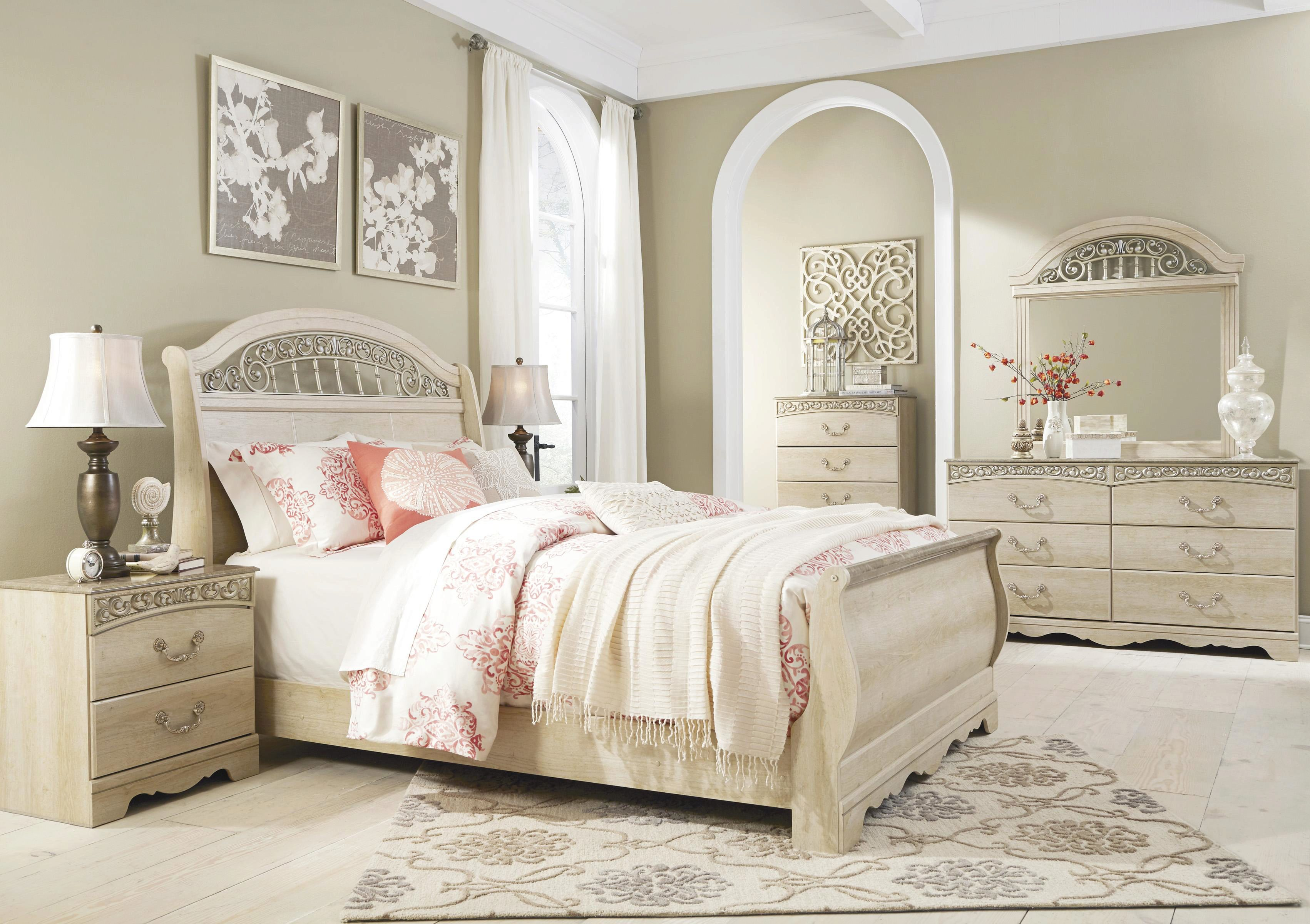 Ashley Catalina B196 Queen Size Sleigh Bedroom Set 5pcs In Antique White 3319 B196 77 74 96 92 46 31 36