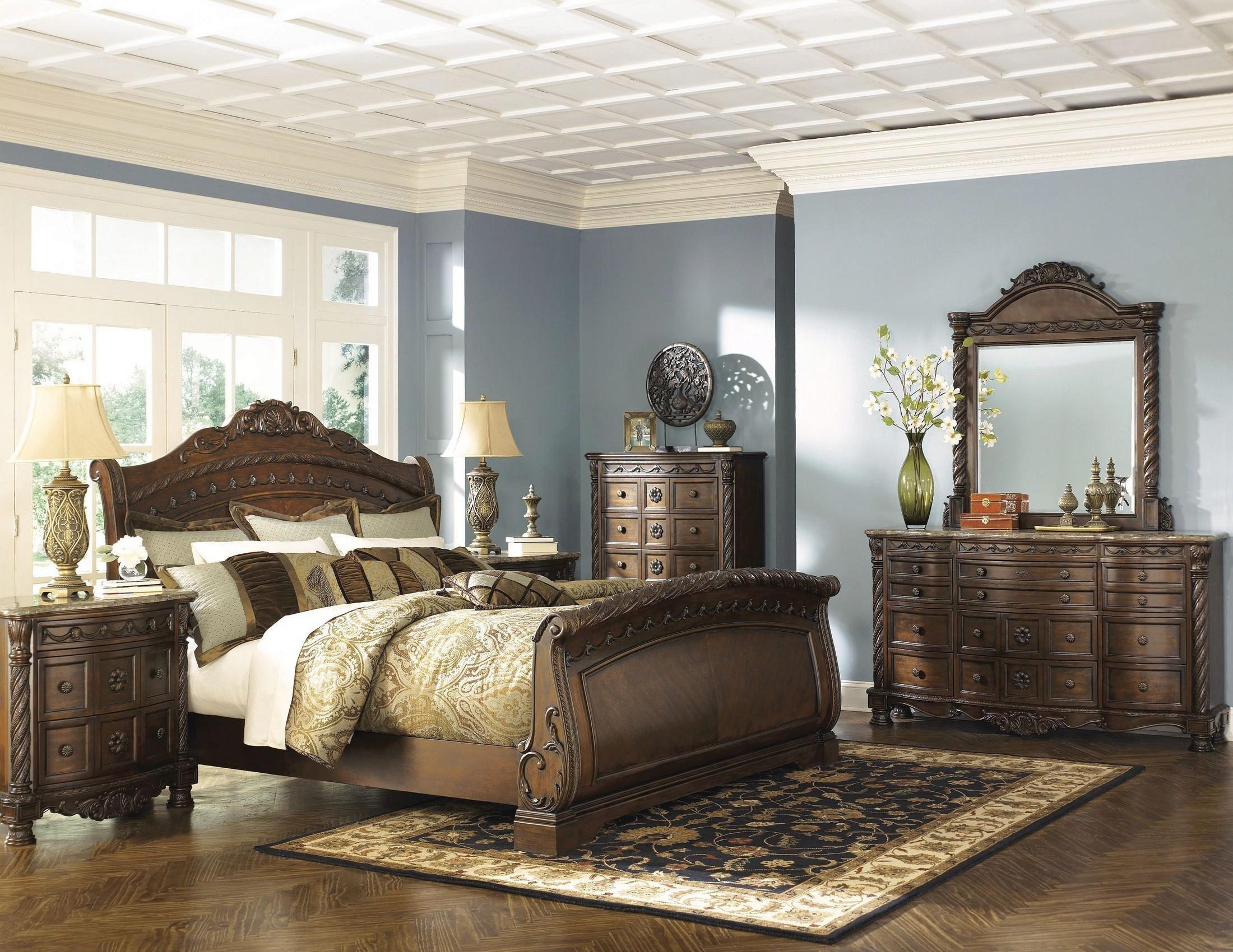 ashley north shore b553 king size sleigh bedroom set 6pcs