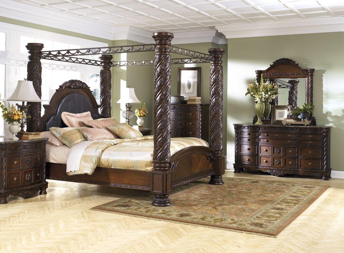 ashley north shore b553 king size uph canopy bedroom set